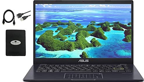 """2021 Newest ASUS 14"""" Thin Light Business Student Laptop Computer, Intel Celeron N4020 (up to 2.8GHz), 4GB DDR4 RAM, 128GB eMMC, 12Hours Battery Life, Zoom Meeting, Windows 10, Blue w/GM Accessories"""