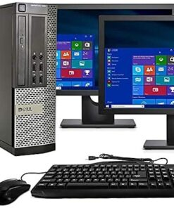 Desktop Computer Package, Quad Core i5 3.1GHz, 8GB Ram, 500GB, Dual 22inch LCD, DVD, WiFi, Keyboard, Mouse, Bluetooth, Windows 10 Pro Compatible with Dell OptiPlex 790 (Renewed)