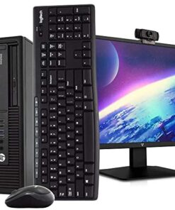"HP 800 G2 Desktop PC Computer, i5-6500, 16GB DDR4 RAM 512GB SSD, Windows 10 Pro, New 23.6"" FHD LED Monitor, New 1080p Periphio Webcam, New 16GB Flash Drive, Wireless Keyboard & Mouse, WiFi (Renewed)"