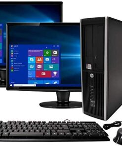 HP Elite Desktop Computer, Intel Core i5 3.1GHz, 8GB RAM, 1TB SATA HDD, Keyboard & Mouse, Wi-Fi, Dual 19in LCD Monitors (Brands Vary), DVD-ROM, Windows 10, (Renewed)