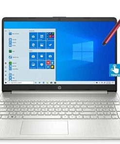 """2021 HP 15 15.6"""" FHD Touchscreen Business Laptop Computer_ Intel Quard-Core i7 1065G7 up to 3.9GHz_ 16GB DDR4 RAM_ 1TB PCIe SSD_ Type-C_ Remote Work_ Silver_ Windows 10 Pro_ BROAGE 64GB Flash Stylus"""