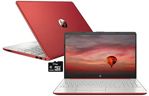 "2021 HP Pavilion 15.6"" HD Laptop Computer, Intel Pentium Gold 6405U, 8GB RAM, 128GB SSD, HD Webcam, USB-C, HDMI, Ethernet RJ-45, Windows 10 S, Red, TiTac SD Card"