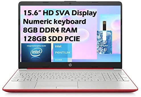 "2021 HP Flagship Pavilion 15.6"" HD Laptop Computer, Intel Dual-core Pentium Processor, 8GB RAM, 128GB SSD, Intel UHD Graphics 605, Bluetooth, USB-C, HDMI, Win 10, Scarlet Red with E.S 32GB USB Card"