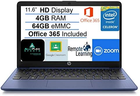 "2021 Newest HP Stream 11.6"" HD Laptop Computer, Intel Celeron N4020 Processor, 4GB RAM, 64GB eMMC Flash Memory, 1-Year Office 365, HDMI, Bluetooth, Windows 10, Blue, AllyFlex MP, Online Class Ready"