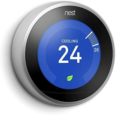 Google Nest Learning Thermostat - Programmable Smart Thermostat for Home - 3rd Generation Nest Thermostat - Works with Alexa - Stainless Steel