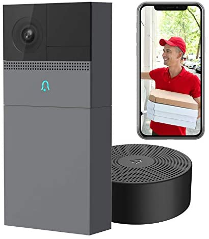 Laxihub WiFi Video Doorbell with Chime 1080P, B1 Rechargeable Battery Doorbell Camera for Home Security, Human Motion Detection, 2-Way Audio, Night Vision, IP65 Waterproof – Compatible with Alexa