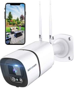 Outdoor Security Camera, WiFi Surveillance Camera IP Camera IP66 Waterproof 3MP 1536P AI Human Detection Work with Alexa IR-Cut Night Vision 40M Two-Way Audio Compatible with iOS/Android SZSINOCAM