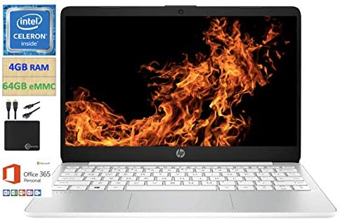 2021 Newest HP 11.6 inch Thin Light HD Laptop Computer, Intel Celeron N4020 up to 2.8 GHz, 4GB DDR4, 64GB eMMC, WiFi , Webcam, 1-Year Office 365, Up 11 Hours, Windows 10 S, White + Marxsol Cables