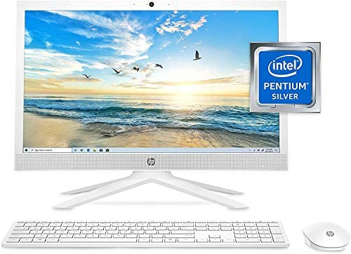 """HP 21"""" FHD Anti-Glare All-in-One AIO Desktop Computer, Intel Pentium Silver J5040 Quad-Core Processor, 16GB DDR4, 512GB PCIe SSD, WiFi, Bluetooth, Webcam, Windows 10 S, Mouse, Keyboard, ABYS Mouse Pad"""