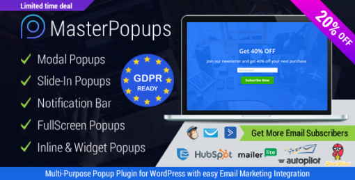 Popup Plugin for WordPress & Popup Editor - Master Popups for Email Subscription