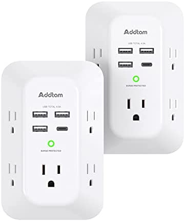 2 Pack USB Wall Charger Surge Protector, 5 Outlet Extender with 4 USB Charging Ports ( 1 USB C Outlet) 3 Sided 1800J Power Strip Multi Plug Outlets, Wall Adapter Spaced for Home Travel Office