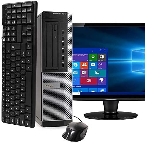 """Dell Desktop Computer Package Compatible with Dell Optiplex 7010 Intel Quad Core i5 3.2GHz, 8GB Ram, 500GB HDD, 19"""" LCD, DVD, WiFi, Keyboard, Mouse, Windows 10 Pro (Renewed)"""