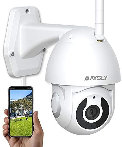 Security Camera Outdoor Maysly WiFi Cameras for Home Security with PTZ Night Vision Motion Detection 2 Way Audio Compatible with Alexa (1080P)
