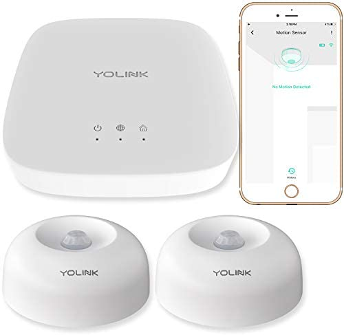 Smart Motion Sensors, YoLink 1/4 Mile World's Longest Range Wireless Indoor Motion Detector Compatible with Alexa IFTTT, Movement Detector App Alerts Remote Monitor, 2 Pack, YoLink Hub Included