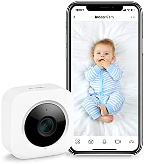 SwitchBot Security Indoor Camera, Motion Detection for Baby Monitor 1080P Smart Surveillance WiFi Pet Camera for Home Security with Night Vision, Two-Way Audio, Add SwitchBot Hub Mini Works with Alexa