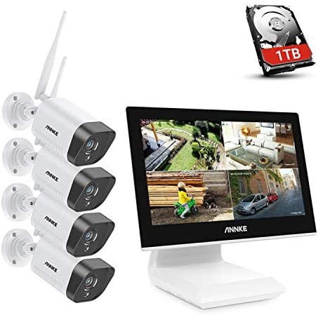 """[Work with Alexa] ANNKE 5MP NVR Wi-Fi Security Camera System with 10.1"""" LCD Monitor, 4CH 5MP WiFi Surveillance NVR with 4Pcs 1080p Outdoor IP Cameras, 100ft Night Vision, 1TB Hard Drive-WL200"""