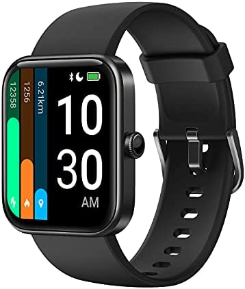 """YAMAY Smart Watch for Android Phones Compatible with iPhone Samsung 2021 Ver., Watch for Men Women with Alexa Built-in, Blood Oxygen & Heart Rate Monitor Sleep Tracker 5ATM Waterproof (Black, 1.69"""")"""