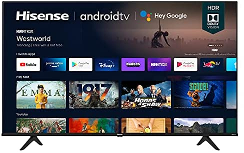 Hisense 65A6G 65-Inch 4K Ultra HD Android Smart TV with Alexa Compatibility (2021 Model), Black