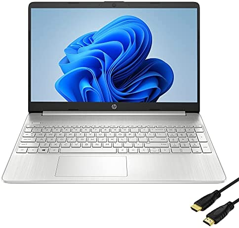 HP 15.6 inch Full HD Laptop, AMD 6-Cores Ryzen 5-5500, AMD Radeon Graphics, HP Fast Charge, Webcam, Thin&Portable, 16GB DDR4 RAM, 512GB PCIE SSD, Windows 10 Home, Natural Silver